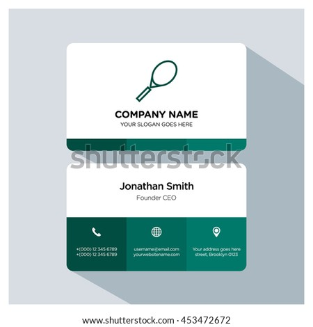 Tennis icon. Business card template