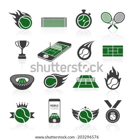 Tennis icon set. - stock vector