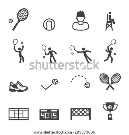 tennis icons, mono vector symbols - stock vector