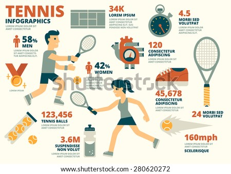 Tennis Infographics - stock vector