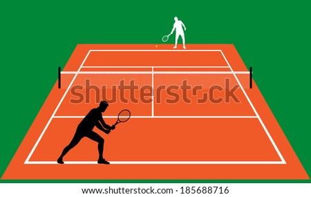 tennis match on clay vector illustration  - stock vector