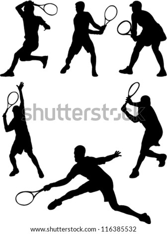 tennis player collection - stock vector