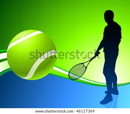 Tennis Player on Abstract Background Original Vector Illustration