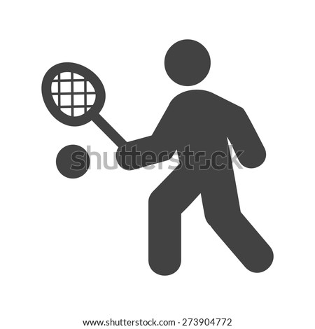 Tennis, player, racket, ball icon vector image. Can also be used for sports, fitness, recreation. Suitable for web apps, mobile apps and print media. - stock vector