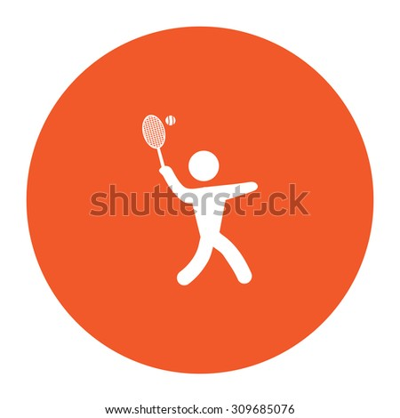 Tennis player, silhouette. Flat white symbol in the orange circle. Vector illustration icon - stock vector