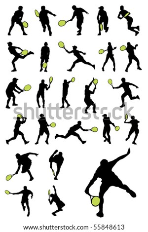 Tennis player silhouettes - stock vector