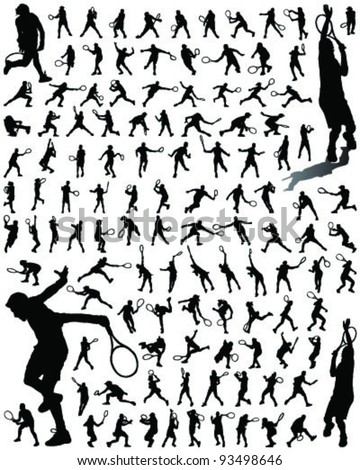 tennis player silhouettes and shadows-vector - stock vector