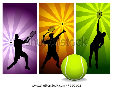 Tennis Player Silhouettes - Vector. Easy change colors.  (Check out my portfolio for other silhouettes). Enjoy - stock vector