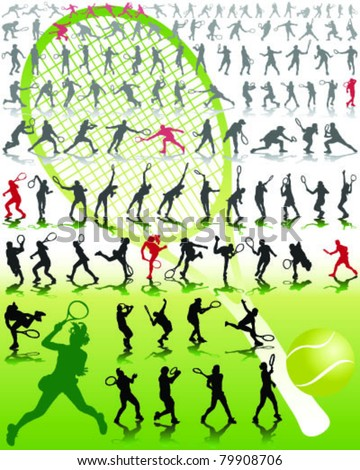 Tennis player silhouettes with shadows on green background