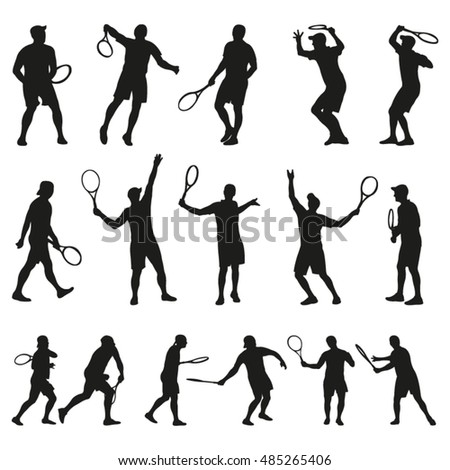 Tennis Player Vector Silhouettes