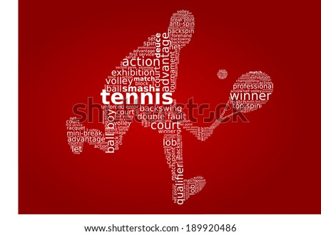 Tennis player word cloud concept in vector - stock vector