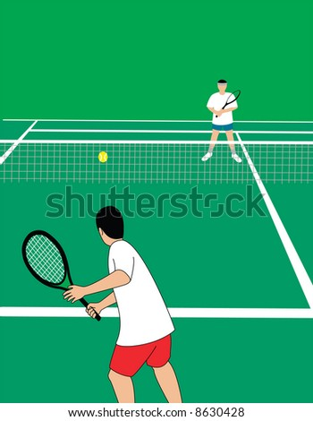 Tennis players at tennis court. Vector illustration. - stock vector