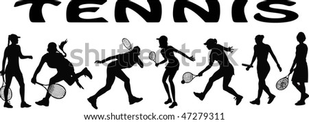 tennis players - vector