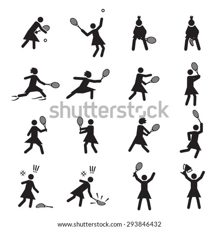 Tennis postures female icon set - stock vector