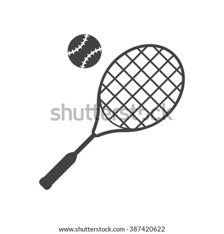 Tennis racket and ball black icon isolated on white background. Big tennis. Vector illustration. Sport symbol. Silhouette, pictograms tennis.