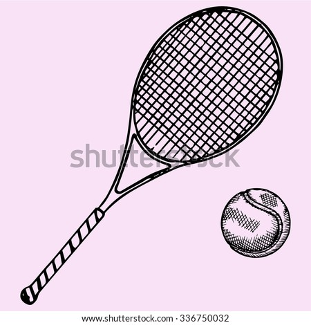 Tennis racket and ball, doodle style, sketch illustration, hand drawn, vector - stock vector