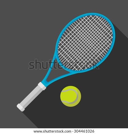 tennis racket and ball icon with long shadow. flat style vector illustration - stock vector