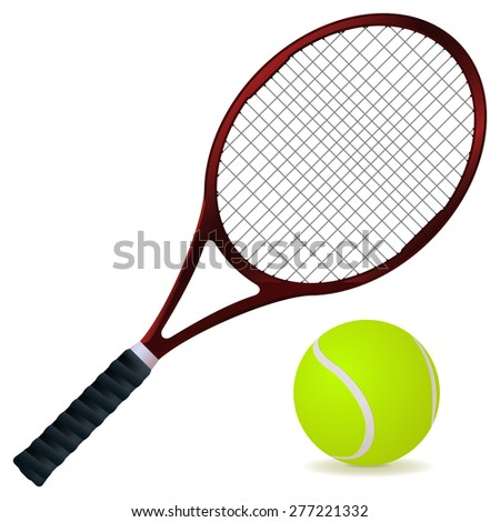 Tennis racket and ball. Vector illustration isolated on white background
