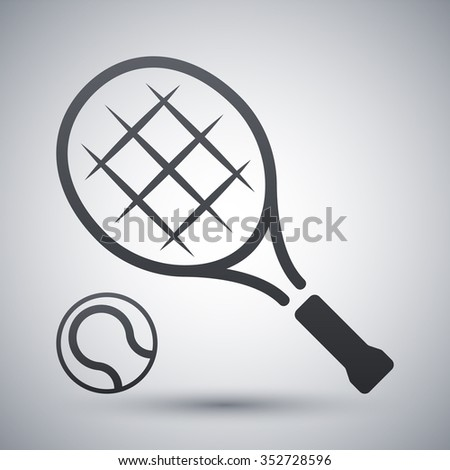 Tennis racket and tennis ball, vector icon - stock vector