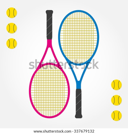 Tennis racket and tennis balls. Two tennis rackets in flat style. Vector illustration. - stock vector