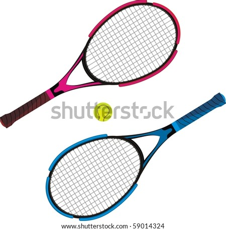 Tennis racket black and red, and blue