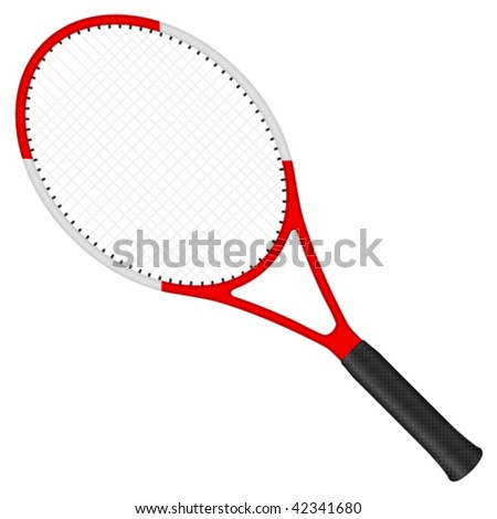 Tennis racket isolated on a white background. Vector illustration. - stock vector