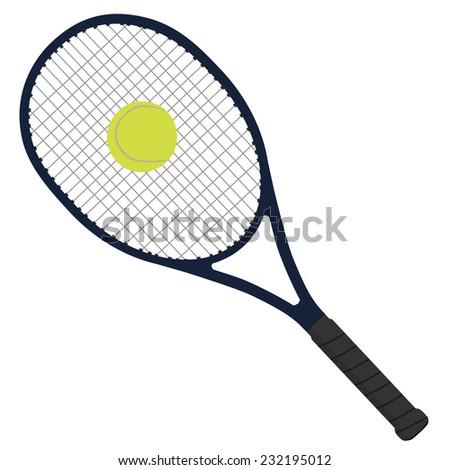 Tennis racket, tennis ball, sport equipment - stock vector