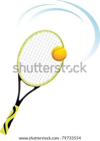 Tennis racket with ball. Vector - stock vector