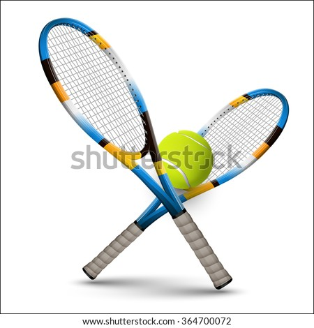 Tennis rackets and ball isolated on white background. Vector design elements. - stock vector