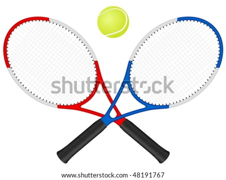 Tennis rackets and ball on a white background. Vector illustration. - stock vector