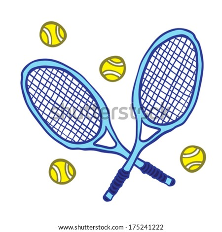 tennis rackets and some balls isolated on white - stock vector