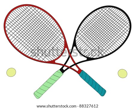 Tennis Rackets Rivals Tied In A Knot Vector 09