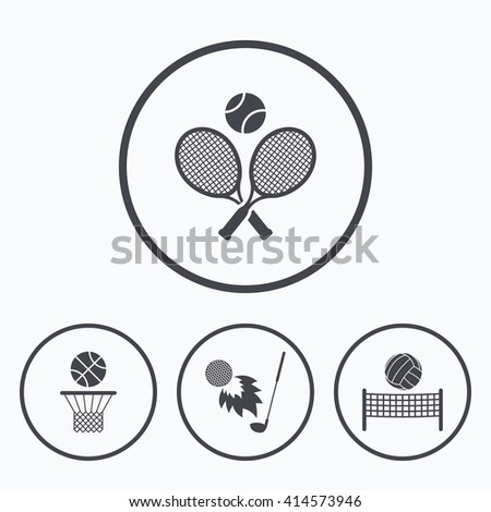 Tennis rackets with ball. Basketball basket. Volleyball net with ball. Golf fireball sign. Sport icons. Icons in circles. - stock vector