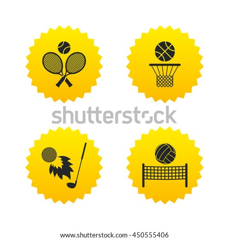 Tennis rackets with ball. Basketball basket. Volleyball net with ball. Golf fireball sign. Sport icons. Yellow stars labels with flat icons. Vector - stock vector
