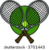 tennis racquets and ball - stock photo