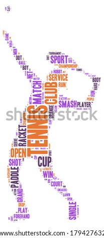 tennis shot tag cloud vector silhouette