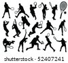 tennis silhouette 2-vector - stock