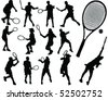 tennis silhouette 3-vector - stock