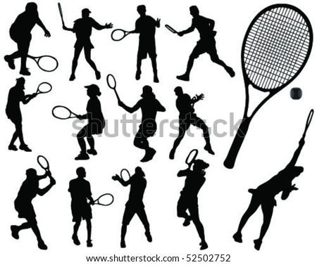 tennis silhouette 3-vector - stock vector