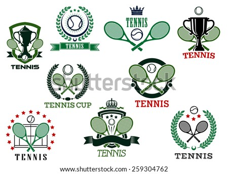 Tennis sports emblems and icons, for trophy cup, tournament or match design - stock vector