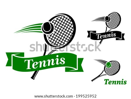 Tennis sports emblems and symbols logo with racke, ball and text for sporting club or tournament design - stock vector