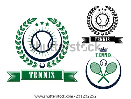 Tennis sports emblems or badges in circular frames, two with balls and a laurel wreath and the third with crossed rackets, vector illustration isolated on white