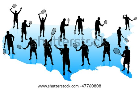 Tennis Team with United States Map Original Vector Illustration