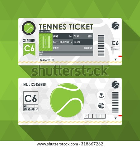 Tennis ticket card modern element design. - stock vector