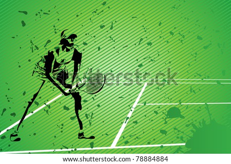 tennis vector illustration (silhouette of a girl on green background) - stock vector