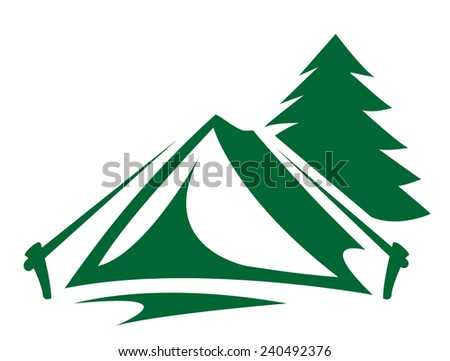 Tent in the woods - stock vector