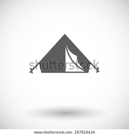Tent. Single flat icon on white background. Vector illustration. - stock vector