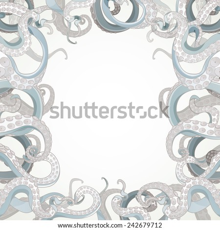 Tentacles frame. EPS 10, made with clipping mask, easy editable. - stock vector