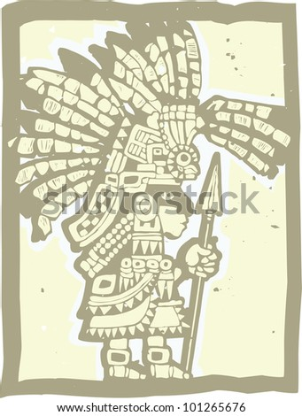 Teotihuacan Warrior rendered in a woodbblock print style. - stock vector