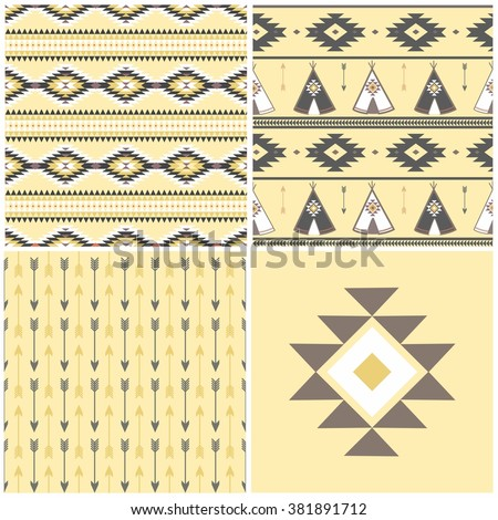 Wigwam native american summer tent illustration in vector. Indian background.  sc 1 st  Shutterstock & Tepee Seamless Pattern Wigwam Native American Stock Vector ...